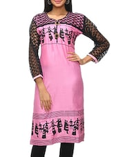 Pink Printed Kurti With Black Sleeves - KIFA
