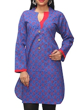 Blue Floral Printed Cotton Kurti - KiFa Lifestyle