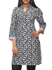 Black Floral Printed Cotton Kurti - KIFA