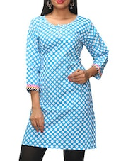 Sky Blue Polka Dots Printed Cotton Kurti - KIFA