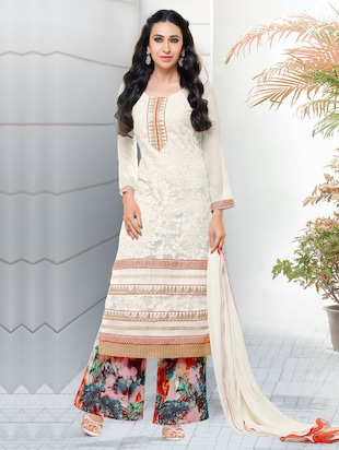 white floral embroidered georgette unstitched suit set