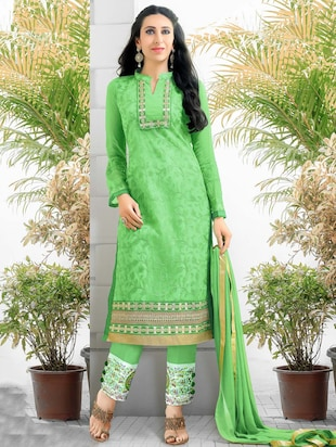 light green embroidered georgette unstitched suit set