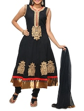 Black Embroidered Anarkali Suit Set - KIFA
