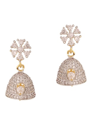 white gold plated drop earring