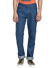 solid dark blue cotton jeans -  online shopping for Jeans