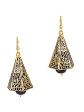 Black And Gold Brass Drop Earring - By