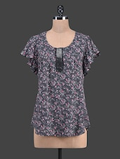 Round Neck Printed Polycotton Top - TAURUS
