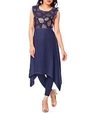 Blue Crepe Highlow Kurta - By