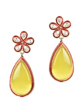 Yellow Stone Floral Tear Drop Danglers - Sindoora