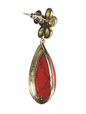 Red Stone Floral Tear Drop Danglers - Sindoora
