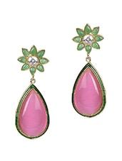 Pink Stone Floral Tear Drop Danglers - Sindoora