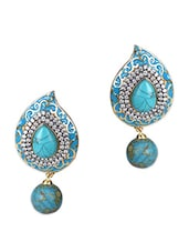 Studded Paisley Tear Drop Danglers - Sindoora