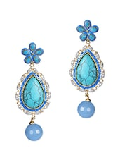 Turquoise Tear Drop Danglers - By