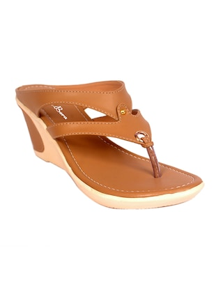 tan faux leather wedges