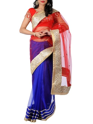 Red and royal blue embellished net saree