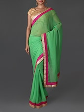 Green Chiffon Saree With Embroidered Border - R D FAB