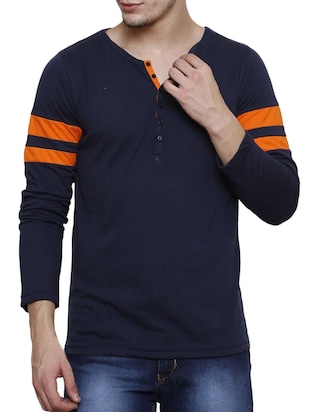 navy blue striped cotton t-shirt