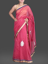 Pink Cotton Net Net Saree With Gold Border - Creation Sarees