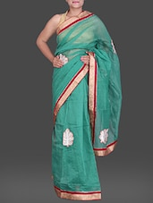 Green Cotton Net Saree With Embroidery - Creation Sarees