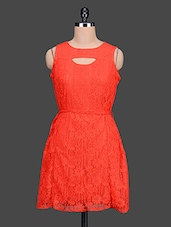 Sleeveless Lace Red Dress - CINDRELLA