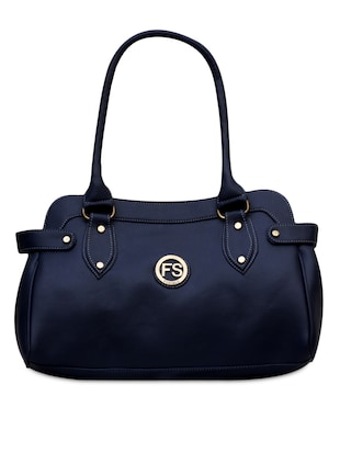 Blue leatherette handbag