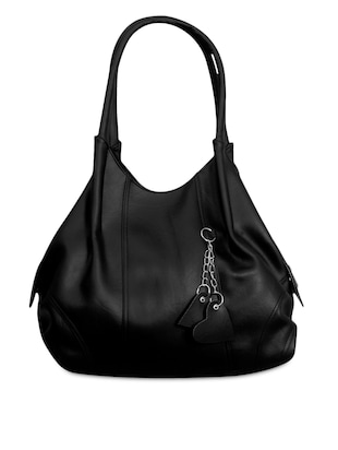 plain black leatherette handbag with keyring
