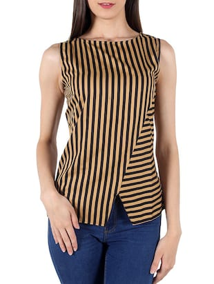 multi colored striped poly crepe top
