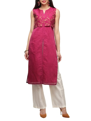 pink cotton blend straight kurta
