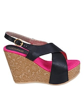Black Cross Strap Wedges - FASHION MAFIA DESIGN BY AISHLEY
