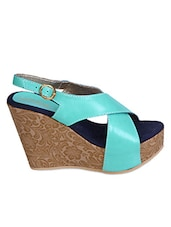 Blue Cross Strap Wedges - FASHION MAFIA DESIGN BY AISHLEY