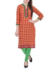 orange and red printed cotton kurta -  online shopping for kurtas