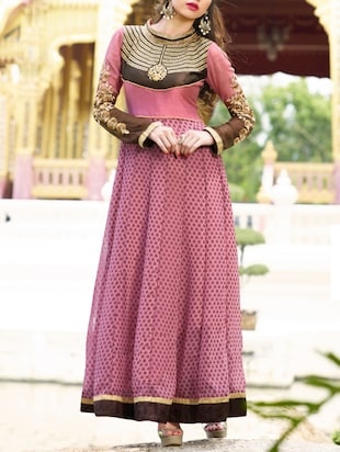 pink georgette dress material