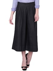 solid black denim culottes -  online shopping for Palazzos