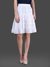 White Cotton Ruffled Cotton Skirt - London Off