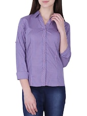 blue and purple cotton check print shirt -  online shopping for Shirts