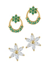 Green Gold Plated Studs Earring - By