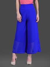 Solid Blue  Fit And Flare Georgette  Palazzos - London Off