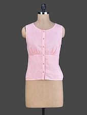 Baby Pink Sleeveless Cotton Top - Instacrush