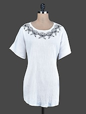 White Embroidered Cotton Tunic - Instacrush