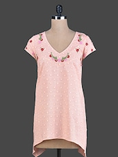 Peach Embroidered Cotton Tunic - By
