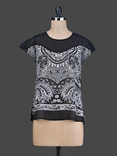 Black Printed High-Low Top - Instacrush