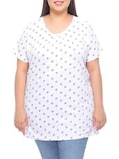 White Printed Cotton T-shirt - PLUSS
