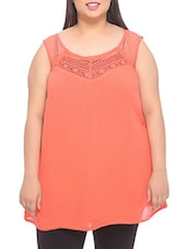 Solid Peach Sleeveless Cotton Top - PLUSS
