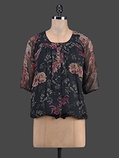 Floral Printed Black Balloon Top - Ayaany
