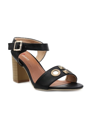 black faux leather ankle strap  sandal