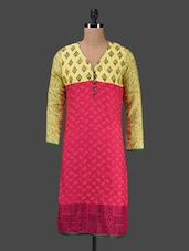 Printed Pink Rayon Kurti - KYLA F