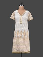 Printed White And Beige Cotton Kurta - KYLA F