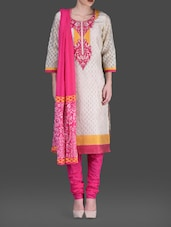 Embroidered Patch Round Neck Silk Suit Set - KYLA F