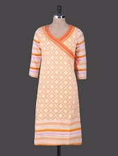 Geometric Print Angrakha Cotton Kurta - By
