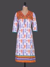 Floral Yoke Quarter Sleeves Cotton Kurta - Prakhya
